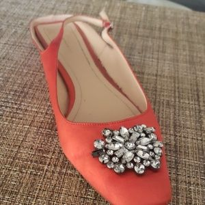 FLAT SLINGBACK SATIN JEWELLED SHOES